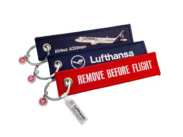 """Lufthansa""- Schlüsselanhänger - Airbus A320neo/Remove Before Flight - 3er-Set"