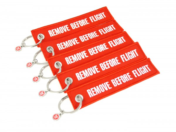 5er-Set - Schlüsselanhänger - Remove Before Flight