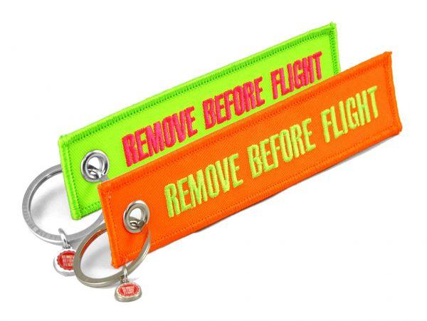 2 Schlüsselanhänger - Remove Before Flight - Neon-Farben-Set