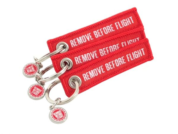 3er-Set - Mini-Schlüsselanhänger - Remove Before Flight